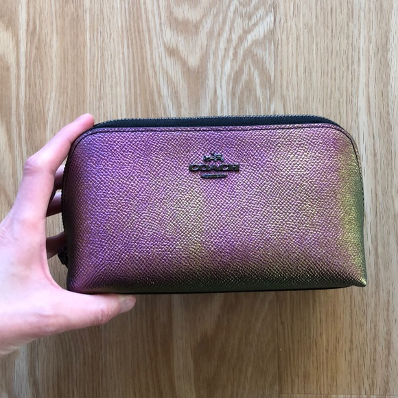 COACH Pebbled Hologram Iridescent Leather Pouch